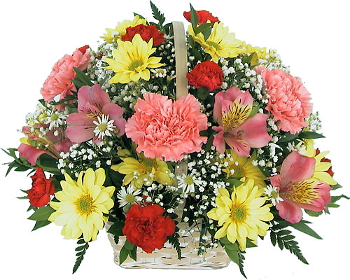 cheerful basket of flowers flowers to ontario canada delivery